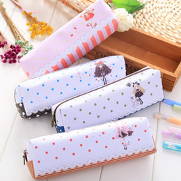 Cartoon Girl Pencil Case PU 20*6cm Stationery Phone Bag Office and School Supplies Multifunction Pencil Bag