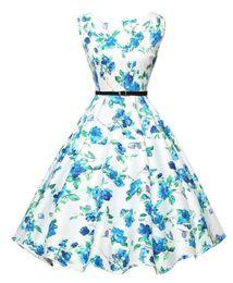 Wholesale 2016 Cheap Vintage A Line Mid Calf Sleeveless Casual Dresses Flora Printed Audrey Hepburn Style s Rockabilly Dress XBS001