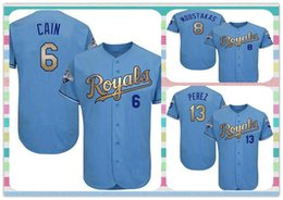 Wholesale New Product Men Kansas City Royals Baseball Jersey Salvador Perez Lorenzo Cain Mike Moustakas Light Blue Cool Base jerseys