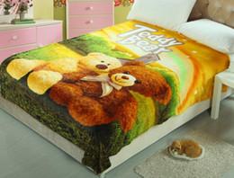 Wholesale Teddy Bear American Cartoon Children Soft Blankets Baby Kids Blankets Fleece Blanket Sofa Bed Plane Travel Plaids