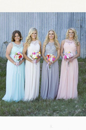 2016 New Blush Pink Lace Long Bridesmaid Dresses Chiffon Hollow Wedding Party Formal Prom Country Wedding Party Dresses Under 60$