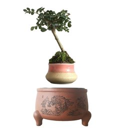 Wholesale 2016 Japan High Tech Magnetic Floating Bonsai Magnet Bonsai Ceramic Planter Bonsai Pots DIY Gifts for Women No Plant P