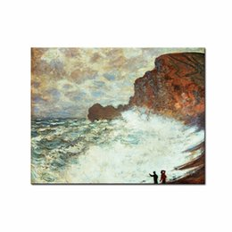 Wholesale LK133 Artist Claude Monet s The Manneporte Etretat Painting Oil Paintings Reproduction Modern Seascape Giclee Canvas Prints Artwork Pi