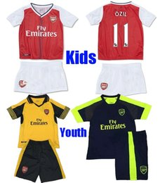 Wholesale 2016 kids Arsenal soccer jerseys Best quality ALEXIS WILSHERE GIROUD CHAMBERS OZIL chilld youth football shirts