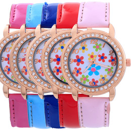 National Wind Fashion Woman Watch Band Leather Flower Print Dial Casual Watch for Woman Quartz Analog Crystal Waterproof Watch