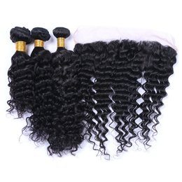Virgin Malaysian Deep Curly Hair With Frontals 4Pcs Lot Cheap Malaysian Human Hair 3Bundles With Deep Curly 13x4 Lace Frontal Closure