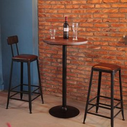 Wholesale American country antique leather chair stool coffee iron bar chairs small round table Specials