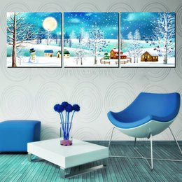Unframed 3 Pieces Free Shipping art picture Canvas Prints snowman peony butterfly flower rose tulips tree Abstract terror forest house snow