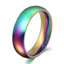 2016 New Rainbow Colorful Titanium Steel Rings Men Womens Engagement Wedding Band Dazzle Light Titanium Steel Ring Wedding Ring