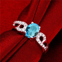 Hot sale Full Diamond fashion Double B with stone 925 silver Ring STPR048D brand new light blue gemstone sterling silver plated finger rings