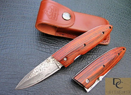 Hand made DK032 Classic Furuta DAMASCUS folding knife DAMASCUS Blade Color wood handle High quality with leather sheath