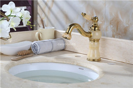 Wholesale New Luxury Fashion Solid Brass and Marble body Deck Mounted Bathroom basin Faucet Single Handle gold finish