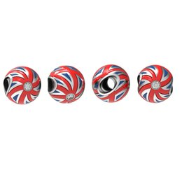 Wholesale New Arrive UK Flag Charm Made Sterling Silver Swarovski Crystal Fits European Bracelet Union Jack Style Jewelry No50 lw D197