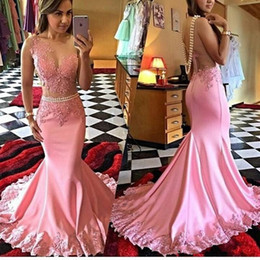 Evening Dresses Wear 2016 New Sexy Jewel Neck Pink Mermaid Lace Appliques Beaded Pearls Sheer Illusion Long Party Dress Open Back Prom Gowns