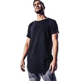 Wholesale-Men's fashion solid color T-shirt Fear of god swag Long arc Justin bieber Hip hop tee top High Street Style Kanye West Beckham