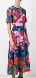 Floral Print Women Dress Short Sleeve Casual Dresses 064A627