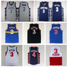 Wholesale 2016 Throwback Allen Iverson Jersey New Rev Georgetown Hoyas Allen Iverson College Shirts Uniforms Retro Red Gray Blue White Black