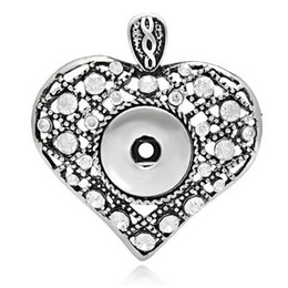 10 pcs antique silver heart rhinestone noosa style snap pendant charms fit for 18-22 mm snaps