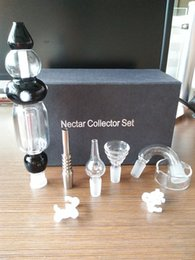 Wholesale High customer satisfaction Nectar Collector Kit with Curved Glass Bowl Titanium Nail Glass Dish Boro Nail Plastic Clip Glass wate pipe