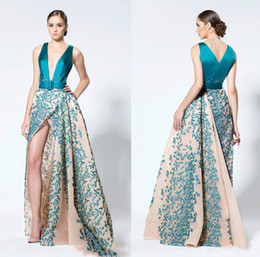 Deep V Neck Evening Dresses 2016 Blue High Split With Appliques Prom Dresses High Low Formal Party Gowns Custom Made