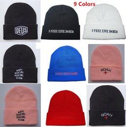 Wholesale Fashion Designer Noah I Feel Like Pablo Anti Social Social Club Deus Word Beanie Hip Hop Winter Hat Sport Skull Cap Letters For Mens Womens