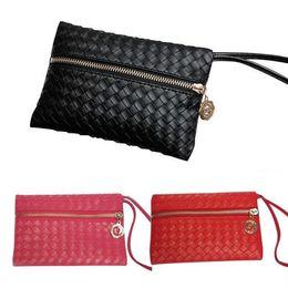New Hot Fashion Women Leather Satchel Handbag Woven Clutch Zip Wallet Evening Bag shipping