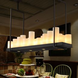 Wholesale Kevin Reilly Altar Modern Pendant Lamp Remote Control Chandelier Candle Light Fixture Suspension Lamp Rectangular Wrought Iron Pendant Light