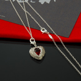 Free Shipping Wholesale Jewelry 925 Sterling Silver Necklace Angle Wing Red Crystal Heart Pendant Necklace for Woman