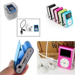 Promotion nouveaux écrans lcd Nouvel écran LCD Métal Mini Lecteur MP3 Clip avec Micro TF / slot SD avec des écouteurs et câble USB Portable Lecteurs MP3