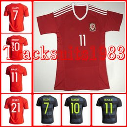 Wholesale 16 Wales Jerseys Shirt Home Away RAMSEY ALLEN BALE GARETH AARON European Cup rugby Jersey