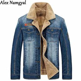 Wholesale Fall Alex Namgyal Men S Denim Jacket Male Outwear Brand Coat Plus Velvet Thick Jean Jacket Casual Sports Jacket Plus Size XL