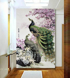 Wholesale Two Green Peacock stone flower branches non woven wallpaper interior decoration hotel tea bar KTV manufacturers direct delivery speed