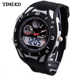 Regarder bracelet en caoutchouc noir à vendre-New Arrival Time100 Jeune Outdoor Sport Dual Time Noir Bracelet Caoutchouc Chronographe Quartz Montres Montre électronique W40073M.01A