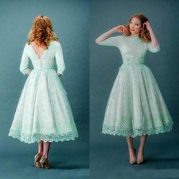 Fashion Tea Length Wedding Dress Mint Colorful Short Bridal Gowns Bateau Neck Vintage Lace Garden Wedding Party Wear Custom Made