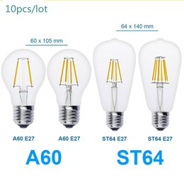 Wholesale 10pcs E27 Antique LED V V Retro LED Filament Lamp LED Glass Bulb A60 ST64 W W W W Globe Bulb Ball Light