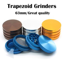 Wholesale Trapezoid Grinders Aluminum Grinder mm Piece Tobacco Grinder Colors Available With Magnetic Top Cover High Quality Herb Grinder