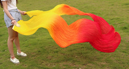 2016 High selling 100% Real Silk Veils 1 Pair handmade women Quality Silk Belly Dance Fan Dance yellow orange red color