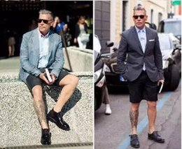 Hot stylish zipper knee length Gentlemen shorts fashion Business man shorts Famous street style men' Suit pants clothing