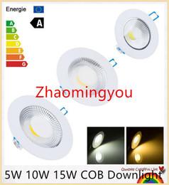 YON 50PCS Free Shipping 5W 10W 15W COB Downlight LED 30W COB Recessed Ceiling Down Light COB 120 Beam angle Warm White Cool White