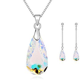 Wholesale Fashion Jewellery Set New Silver Gold Plated Color Drop Crystal Necklace Earring Fine Jewelry Sets For Woman retail
