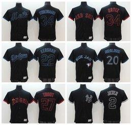 Wholesale 2016 Black Blue Jays Donaldson Dodgers Kershaw Red Sox Ortiz Yankees Jeter Angeles Trout Mets Syndergaard Jerseys