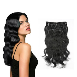 Indian Curly Hair 16 Clips 70-220g 7piece set Natural Black Clip In Human Hair Extensions 100% Remy Human Hair Full Head Clip ins