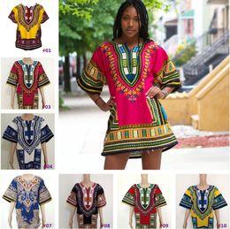 Wholesale Dashiki New African Clothing Traditional Print Tops Fashion Design African Bazin Riche Clothes Dashiki T shirt For Men Women b506