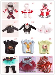 Wholesale 2016 Hot Sell Cristmas Shelf Winter Set Boots Tartan Skirt Boots Satin Tiered Skirt Elf Clothes Doll Accessories styles