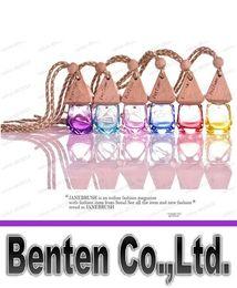 colorful 10ML crystal shape hanging car perfume glass bottle hanging decoration bottle car hanging accessories perfume bottle LLFA