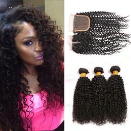 Brazilian Kinky Curly with closure 3 bundles with lace closure Brazilian deep curly human hair weave closure Afro Kinky Curly Brazilian hair