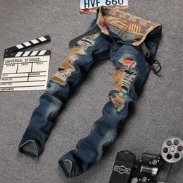 2016 Top Popular Hole Ripped Stretch Denim Jeans Casual Hiphop Biker Trousers Men Skinny Distressed Vintage Pants mix order size