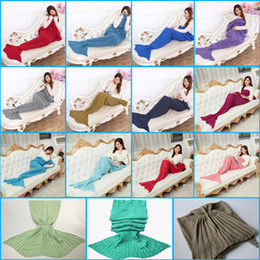 Wholesale 195x95cm Adults Fashion Knitted Mermaid Tail Blanket Super Soft Warmer Blankets Bed Sleeping Costume Air condition Knit Blanket Colors