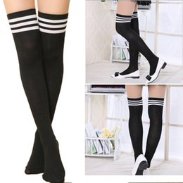 Wholesale 2016081709 Hot Thigh High Sexy Cotton Socks Women s Striped Over Knee Girl Lady Sock