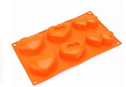 Wholesale Soap Molds Heart Shape - Creative heart-shaped Cake Mold Flexible Silicone Soap Mold For Handmade Soap Candle Candy bakeware baking moulds kitchen tools ice molds